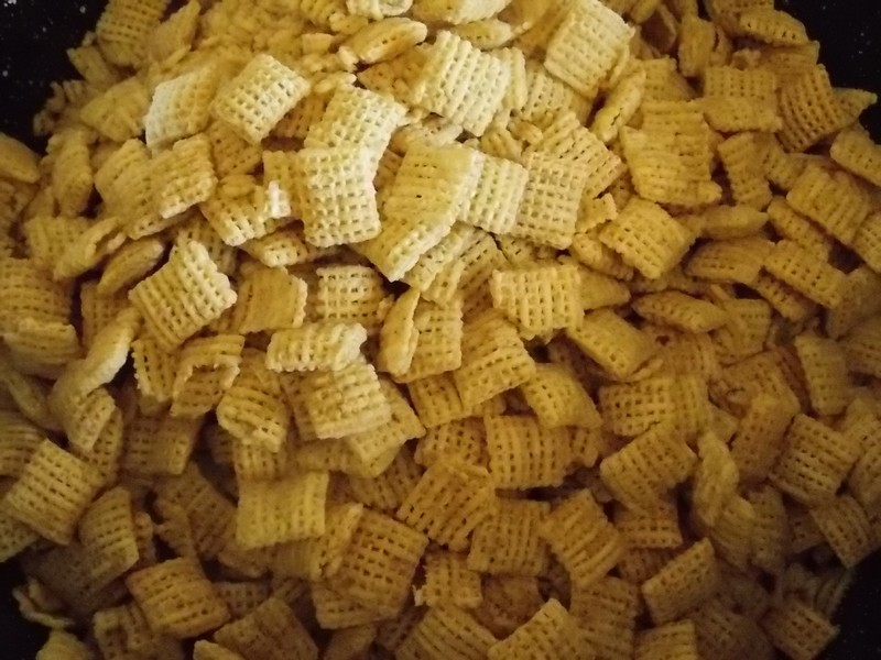 We bought 2 boxes of rice chex cereal and poured both of them into a ...
